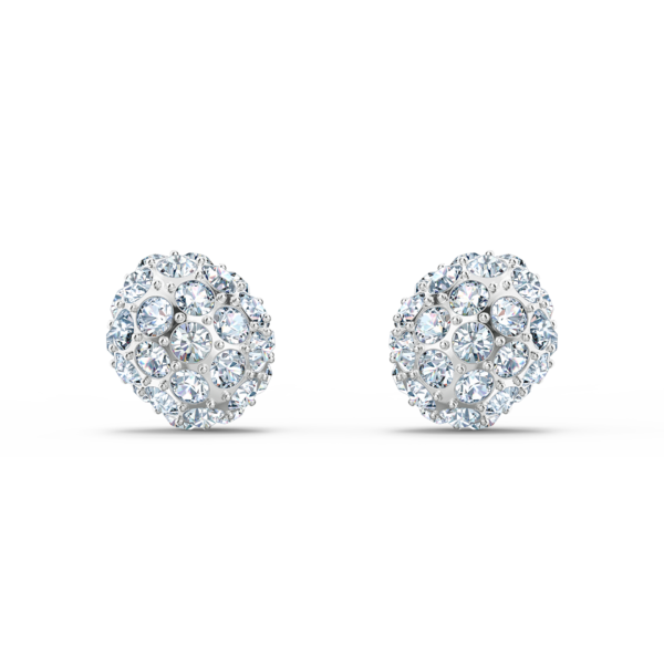 So Cool Stud Pierced Earrings White, Rhodium plated 5521735