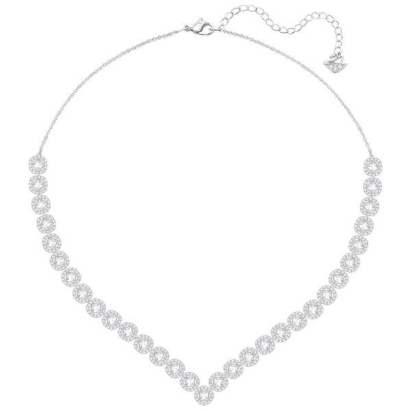 Angelic Square Necklace, Large, White, Rhodium plating
