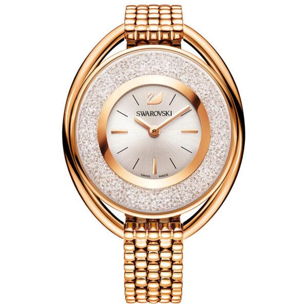 Crystalline Oval Rose Gold Tone Bracelet Watch