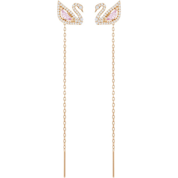 Dazzling Swan Pierced Earrings, Multi-colored, Rose gold plating