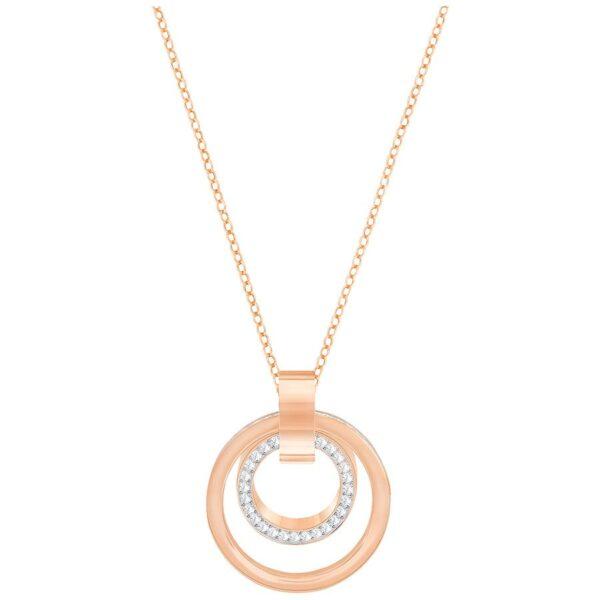 Hollow Pendant, Medium, White, Rose gold plating