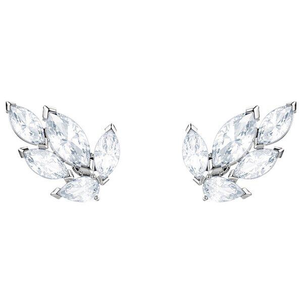 Louison Stud Pierced Earrings, White, Rhodium plating