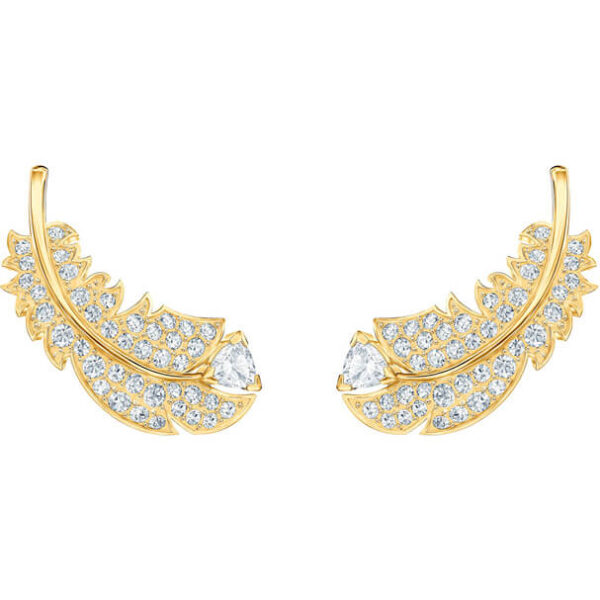Nice Stud Pierced Earrings, White, Gold-tone plated