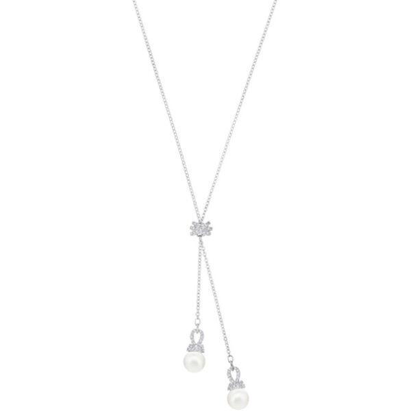Originally Y Necklace, White, Rhodium plating