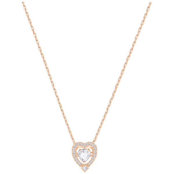 Sparkling Dance Heart Necklace, White