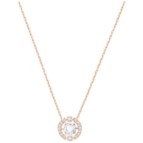 Sparkling Dance Round Necklace, White