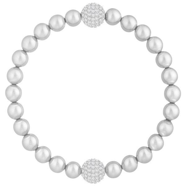 Swarovski Remix Collection Light Gray Crystal Pearl, White, Rhodium plating