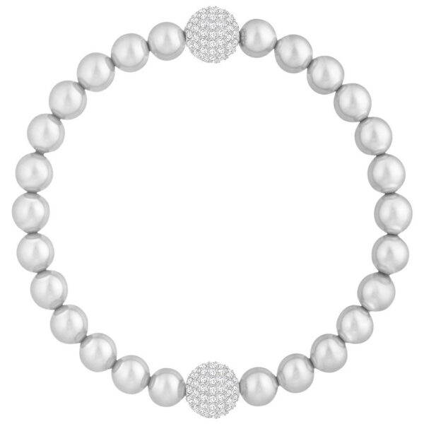 Swarovski Remix Collection Light Gray Crystal Pearl, White, Rhodium plating