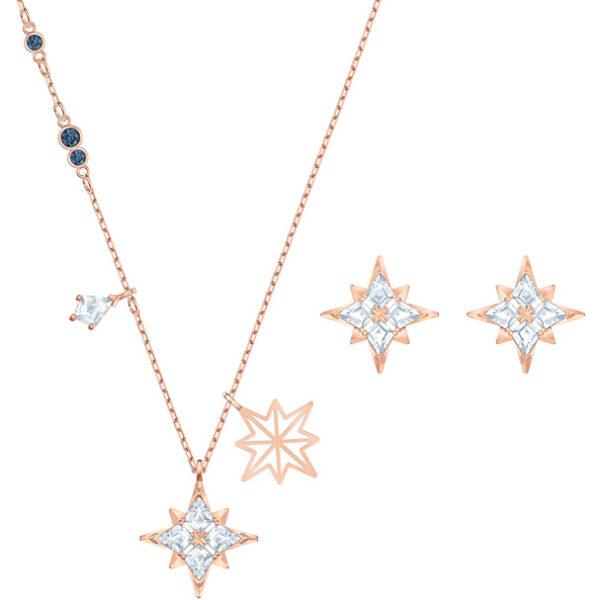 Swarovski Symbol Star Set, White, Rose-gold tone plated