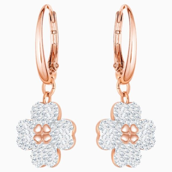 swarovski latisha pierced earrings white rose gold tone plated swarovski 5420249