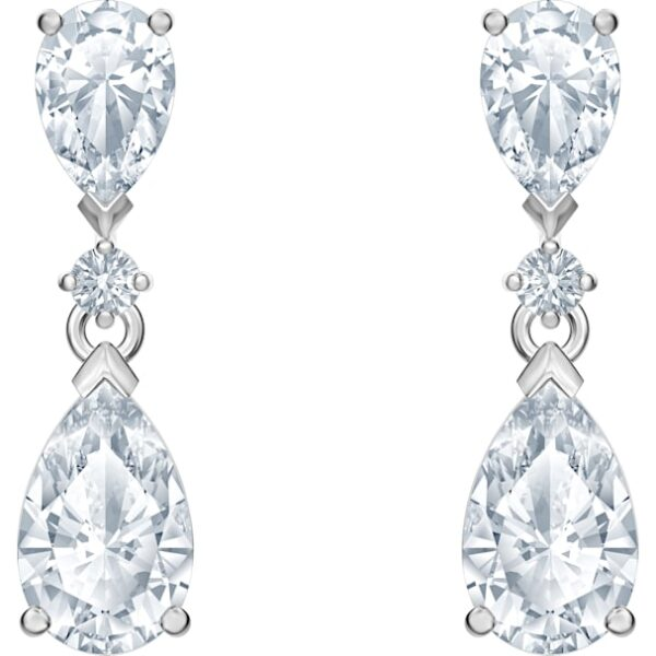 Palace Drop Pierced Earrings, White, Rhodium plated