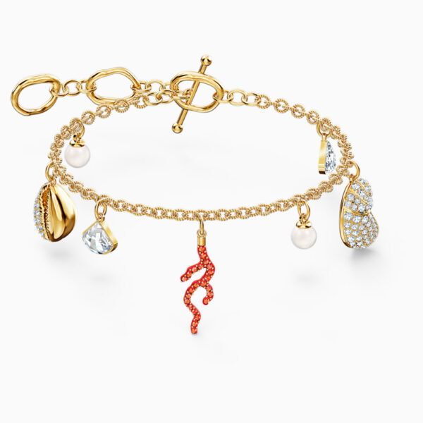 Shell Coral Bracelet, Red, Gold-tone plated