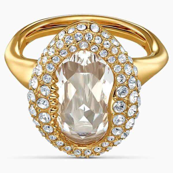 Shell Ring, White, Gold-tone plated