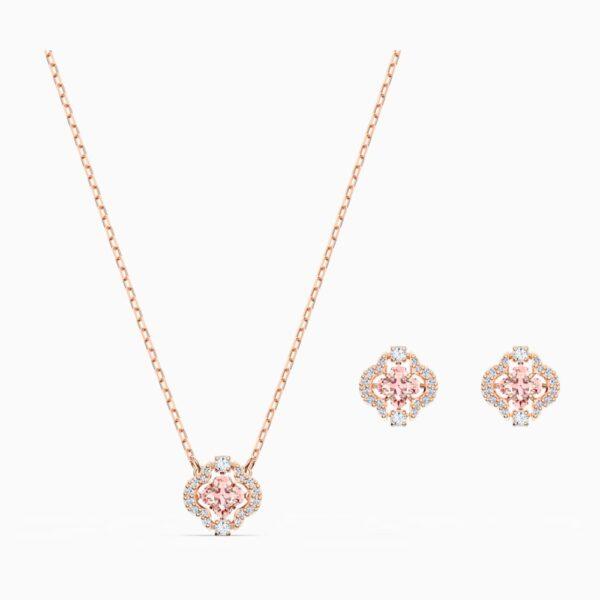 Swarovski Sparkling Dance Clover Set, Pink, Rose-gold tone plated