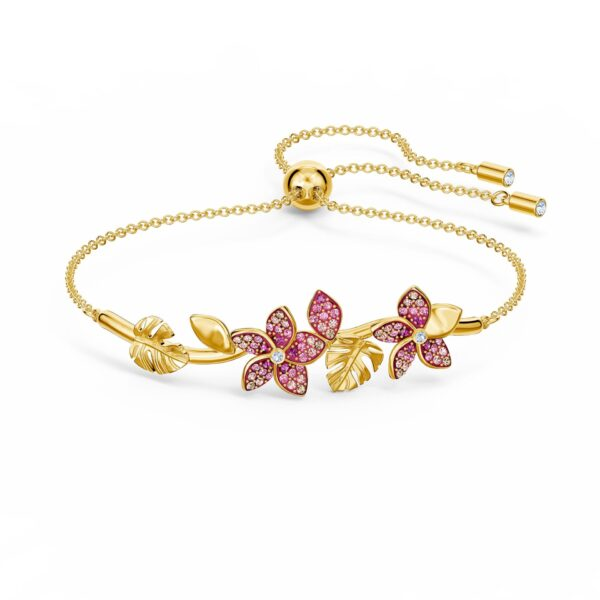 Swarovsi Tropical Flower Bangle, Pink, Gold-tone plated 5521058