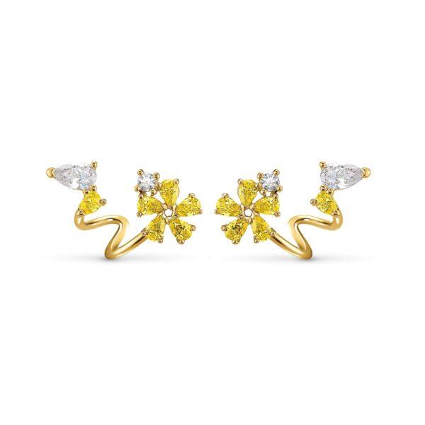 Swarovski Botanical Wrap Pierced Earrings, Yellow, Gold-tone plated 5535828
