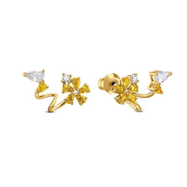 Swarovski Botanical Wrap Pierced Earrings, Yellow, Gold-tone plated 5535828 var1