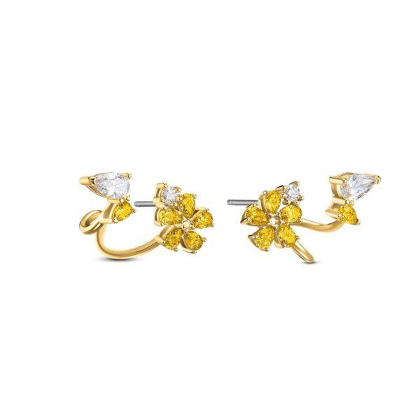 Swarovski Botanical Wrap Pierced Earrings, Yellow, Gold-tone plated 5535828 var2