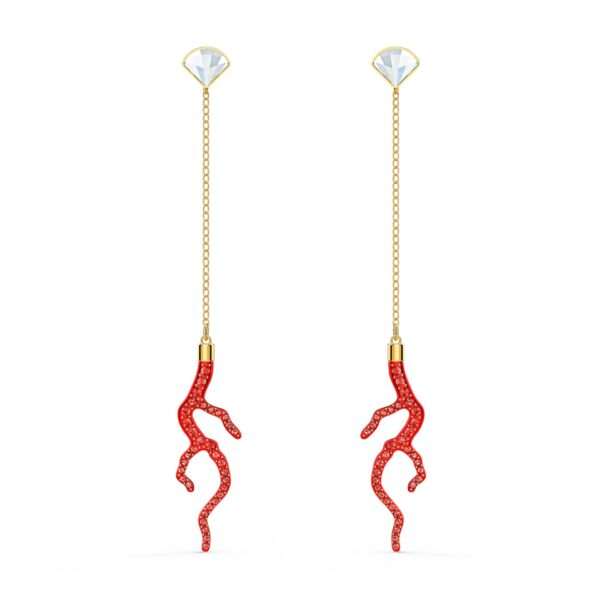 Swarovski Shell Coral Pierced Earrings, Red, Gold-tone plated 5520662