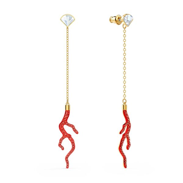 Swarovski Shell Coral Pierced Earrings, Red, Gold-tone plated5520662 var1