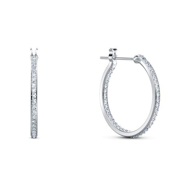 Swarovski Spirit Hoop Pierced Earrings, Aqua, Rhodium plated 5521784 var2