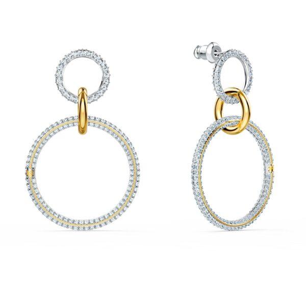 Swarovski Stone Hoop Pierced Earrings, White, Mixed metal finish 5523991 var1
