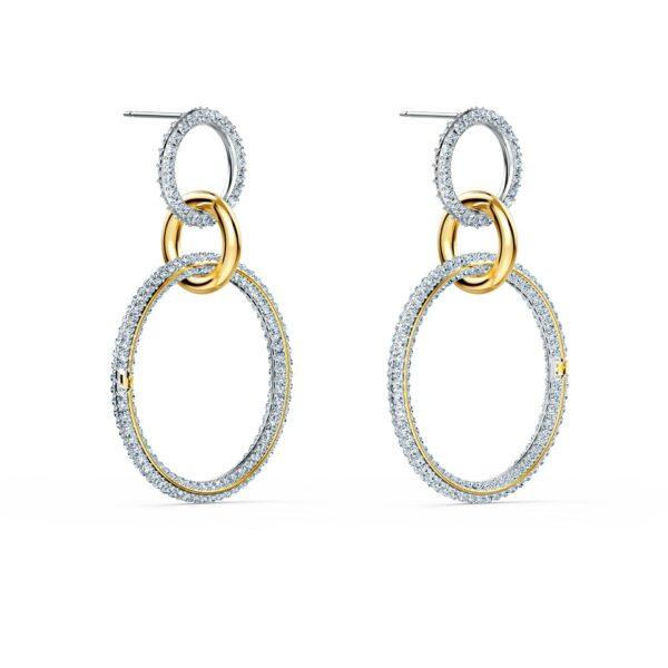 Swarovski Stone Hoop Pierced Earrings, White, Mixed metal finish 5523991 var2