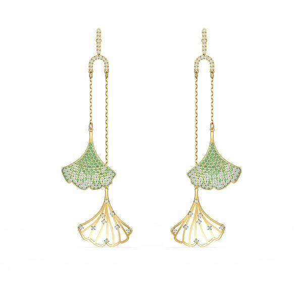 Swarovski Stunning Ginko Mobile Pierced Earrings, Green, Gold-tone plated 5527080