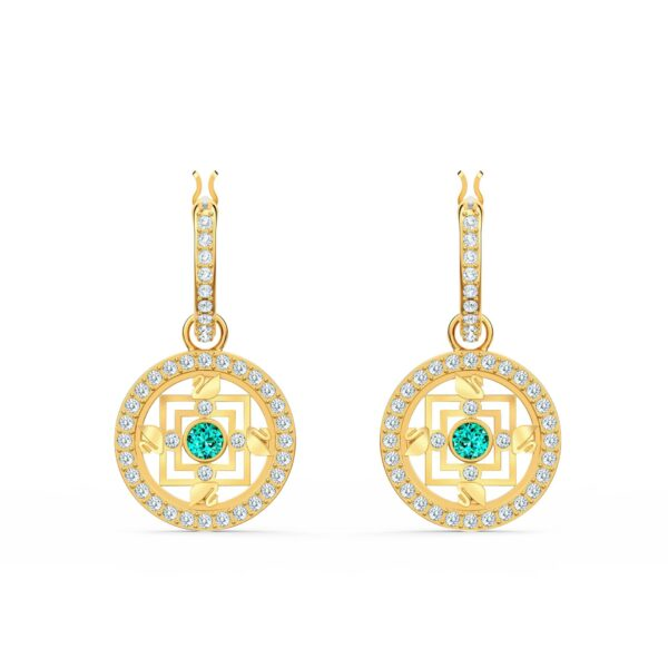 Swarovski Symbolic Mandala Hoop Pierced Earrings, Green, Gold-tone plated 5521446