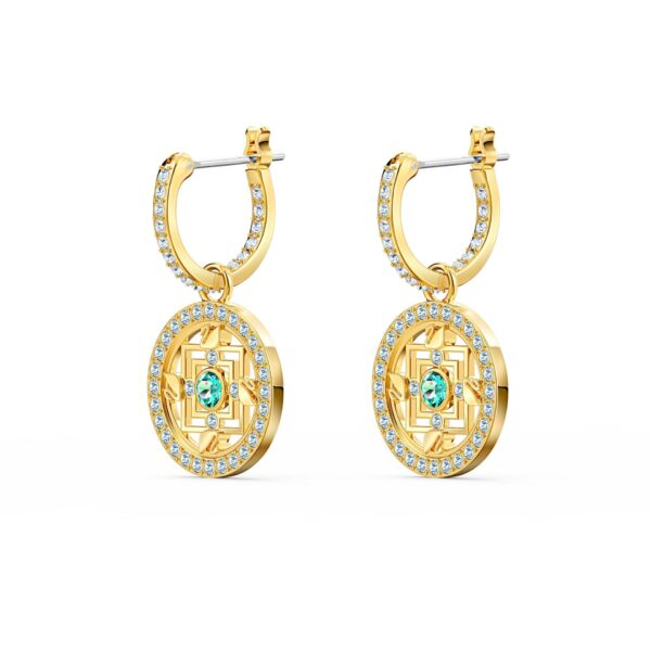 Swarovski Symbolic Mandala Hoop Pierced Earrings, Green, Gold-tone plated 5521446 var1