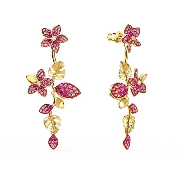 Swarovski Tropical Flower Pierced Earrings, Pink, Gold-tone plated 5520648 var1