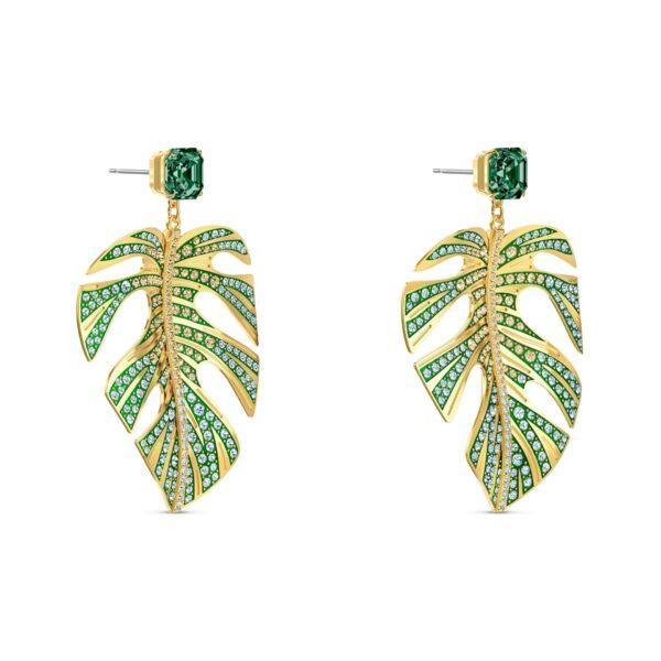 Swarovski Tropical Leaf Pierced Earrings, Green, Gold-tone plated 5525242 var2