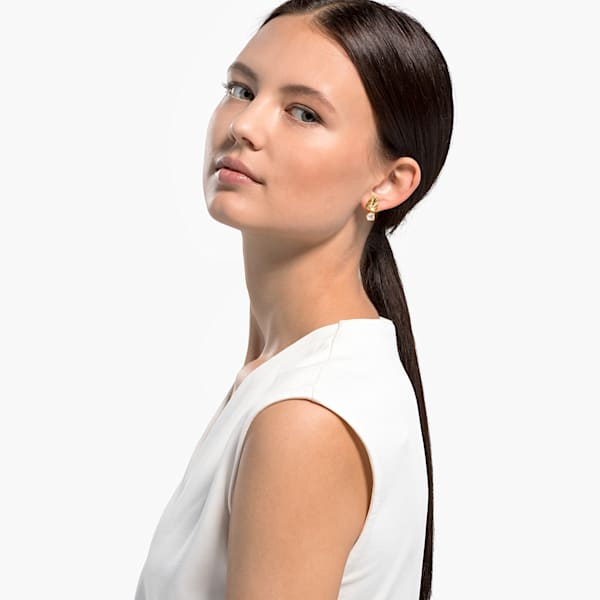 Swarovski Tropical Leaf Pierced Earrings, White, Gold-tone plated 5519253