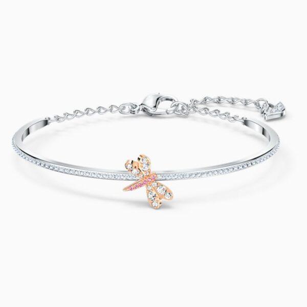 swarovski eternal flower bangle pink mixed metal finish swarovski 5518138