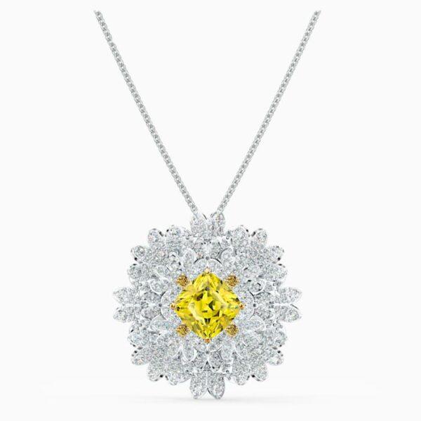 swarovski eternal flower brooch yellow mixed metal finish swarovski 5518147