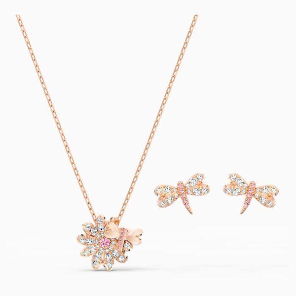 swarovski eternal flower dragonfly set pink rose gold tone plated swarovski 5518141