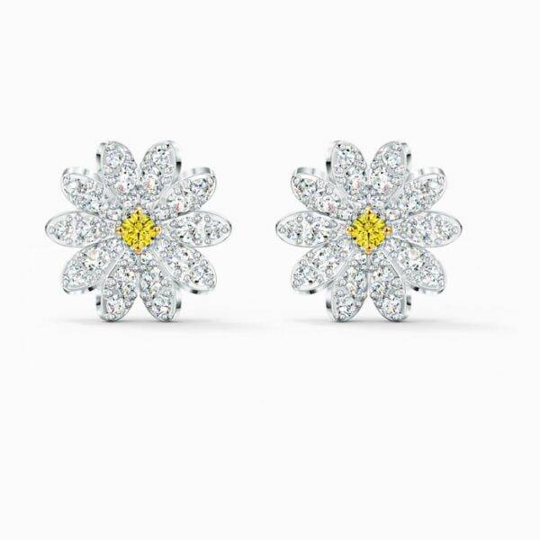 swarovski eternal flower stud pierced earrings yellow mixed metal finish swarovski 5518145