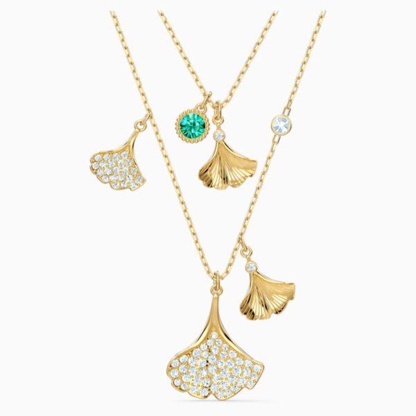 swarovski stunning ginko layered necklace green gold tone plated swarovski 5527079