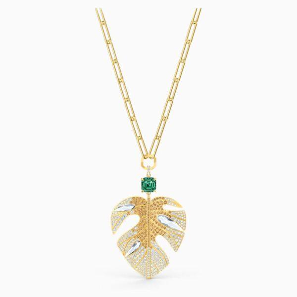 swarovski tropical leaf pendant light multi colored gold tone plated swarovski 5512695