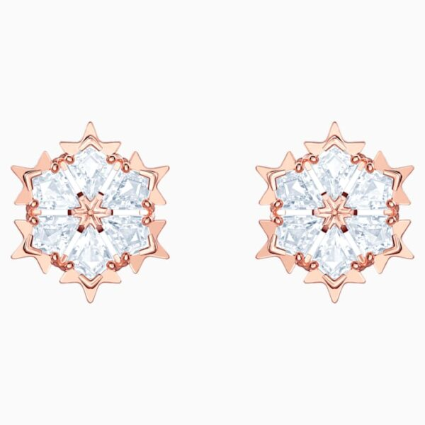 swarovski magic pierced earrings white rose gold tone plated swarovski 5428429