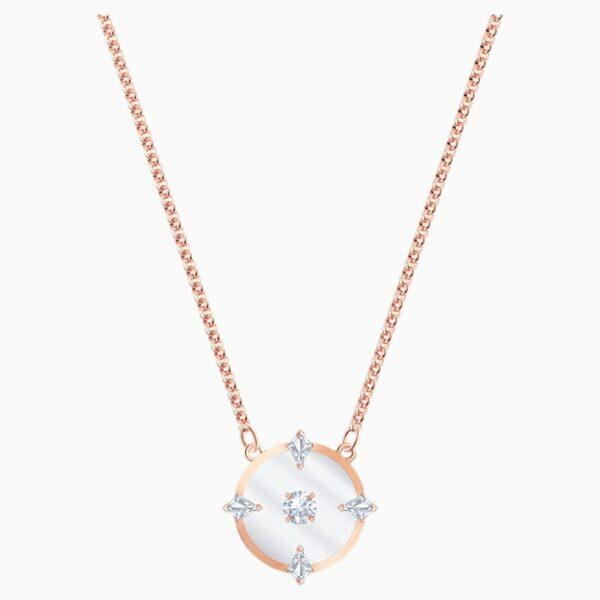 swarovski north necklace white rose gold tone plated swarovski 5488400
