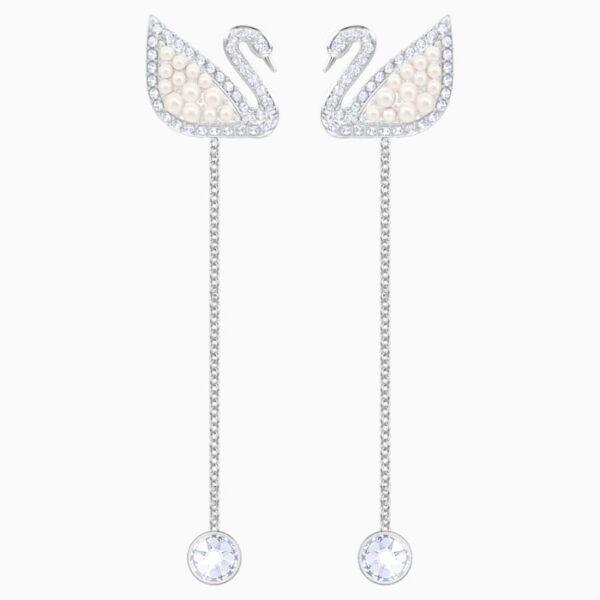 swarovski iconic swan pierced earrings white rhodium plated swarovski 5429270