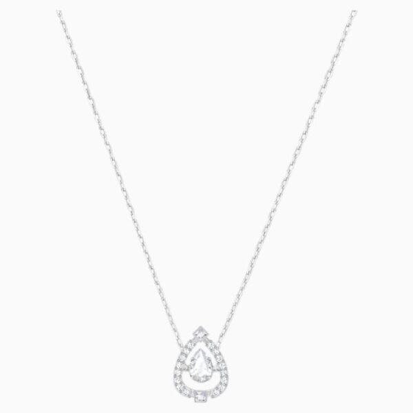 swarovski sparkling dance pear necklace white rhodium plated swarovski 5451992