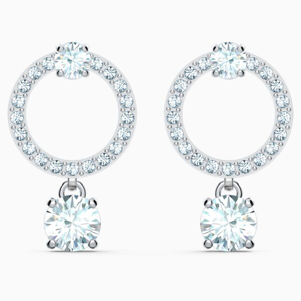 swarovski attract circle pierced earrings white rhodium plated swarovski 5563278