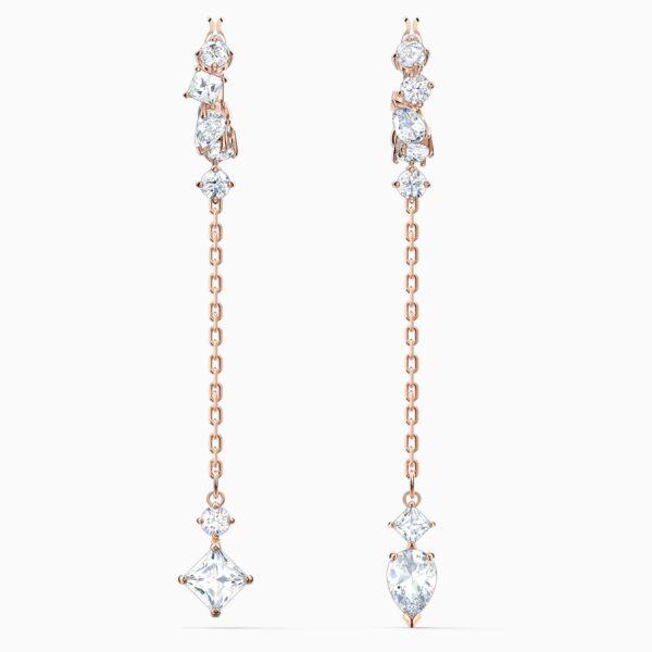 swarovski attract pierced earrings white rose gold tone plated swarovski 5563118
