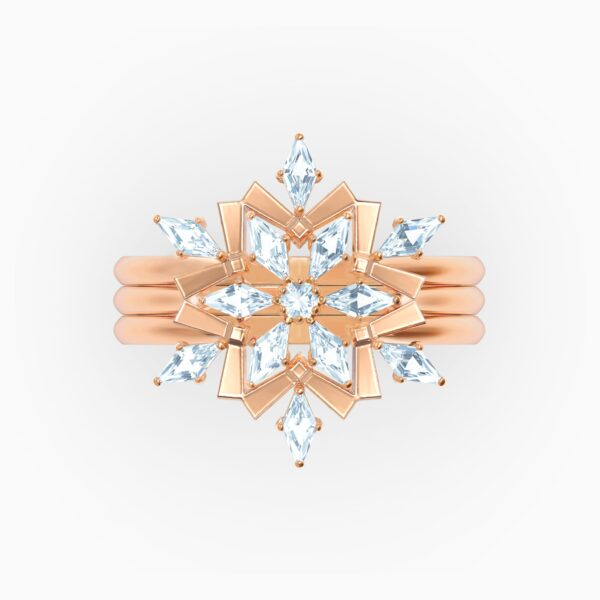 swarovski magic ring set white rose gold tone plated swarovski