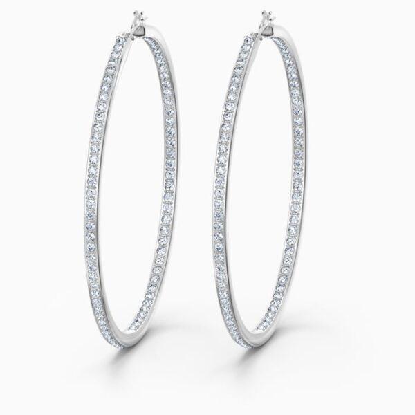 swarovski rare hoop pierced earrings white rhodium plated swarovski 5555724