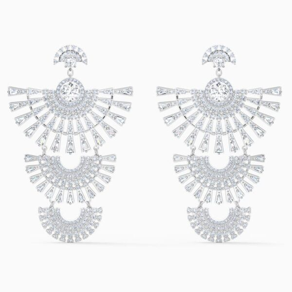 swarovski sparkling dance dial up pierced earrings white rhodium plated swarovski 5568008