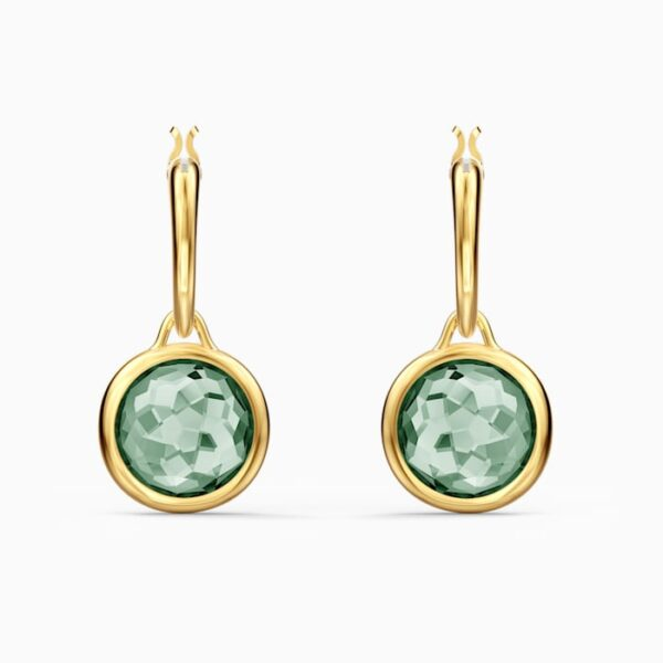 swarovski tahlia mini hoop pierced earrings green gold tone plated swarovski 5572587