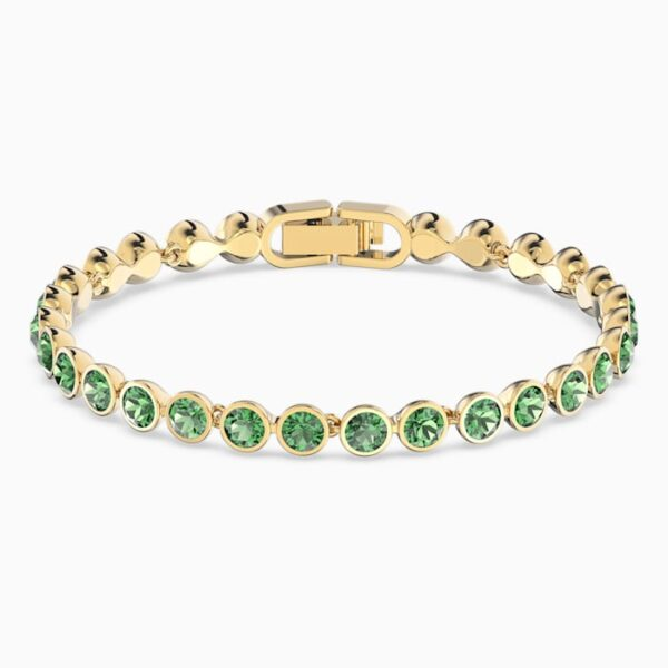 swarovski tennis bracelet green gold tone plated swarovski 5555824